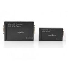 Prelungitor VGA + audio prin cablu UTP Nedis