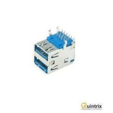 Mufa USB A 3.0; pentru PCB; THT; în unghi 90°; dubla