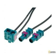 Adaptor antenã; Fakra mufã x2,Fakra soclu dublu;  VW